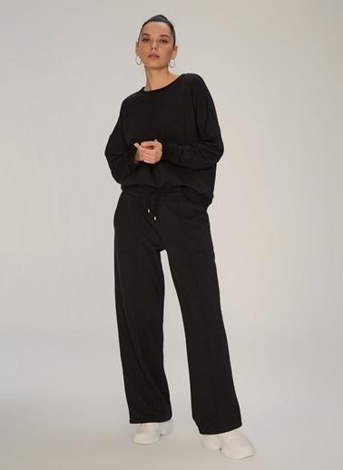NGSTYLE Nervür Dikişli Sweat Pantolon Siyah